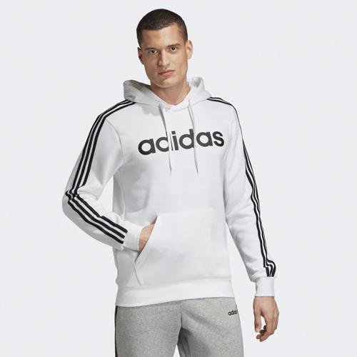 Men's Essentials 3-Stripes Pullover Hoodie, White, swatch
