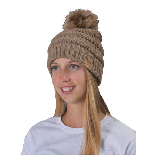 Women's Knit Beanie With Fur Pom, Tan,Beige,Fawn,Khaki, swatch
