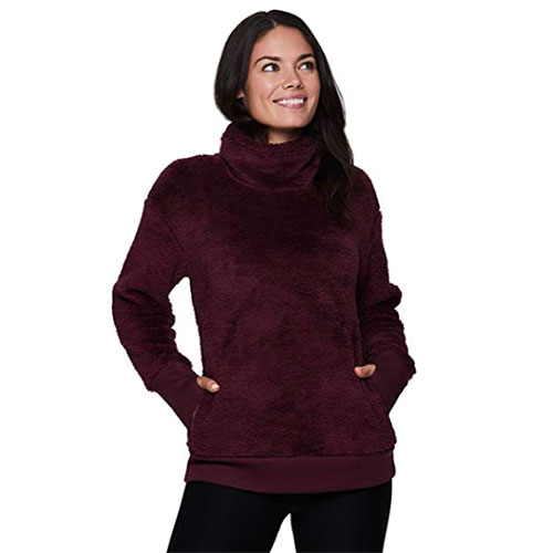Women's Fleece Hoodie with Faux Fur Lining, Dk Red,Wine,Ruby,Burgandy, swatch