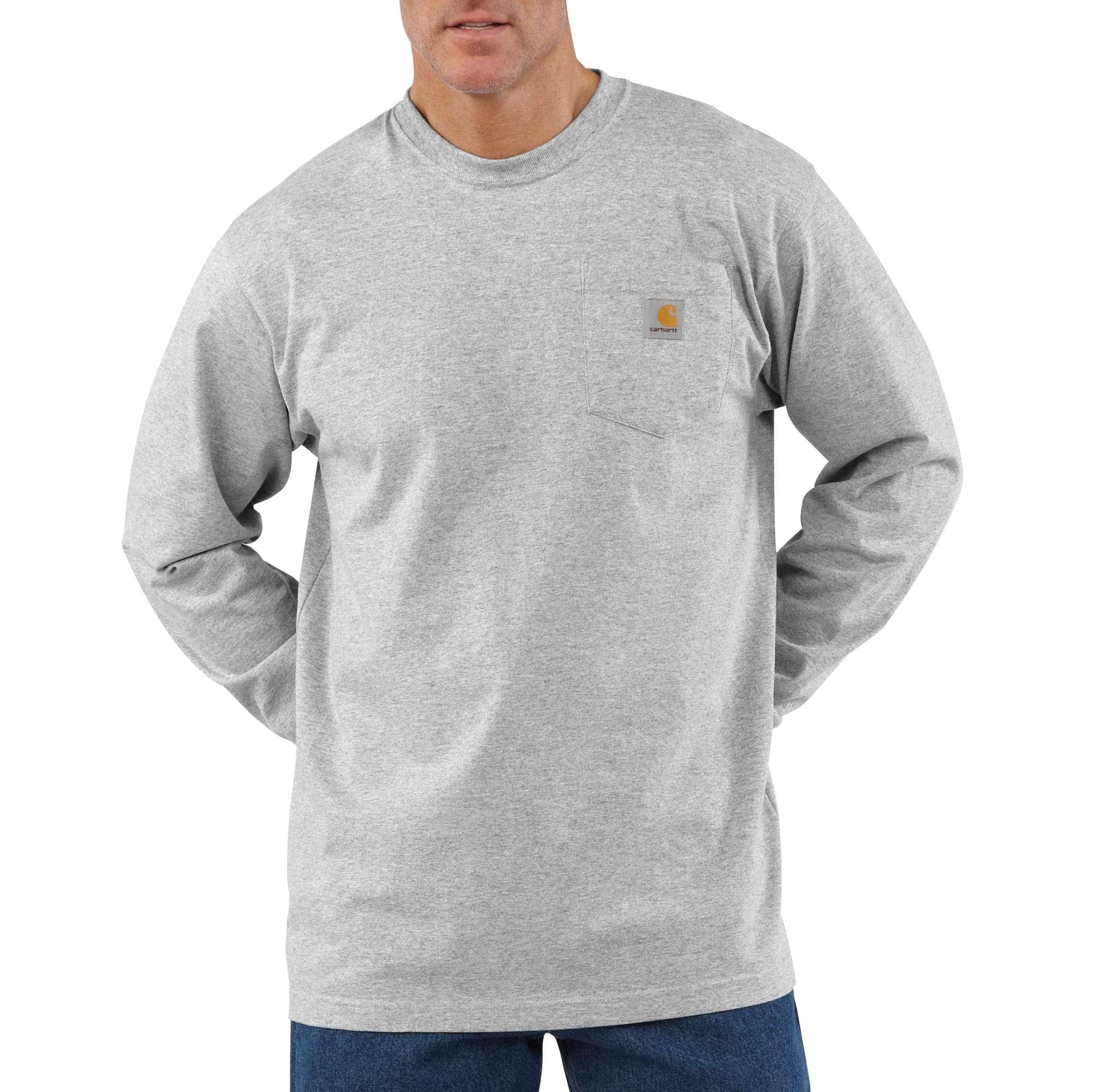 Men's Workwear Long Sleeve Pocket T-Shirt, Heather Gray, swatch