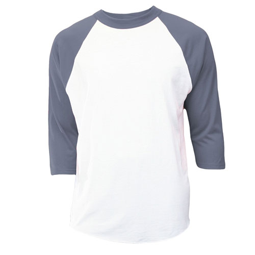 Youth 3/4 Sleeve Baseball Shirt, White/Gray, swatch