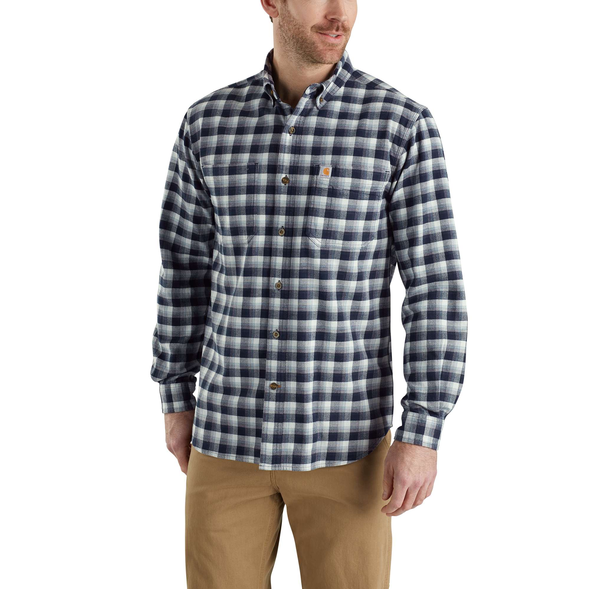 Men's Rugged Flex¨ Hamilton Plaid Long Sleeve Shirt, Navy, swatch