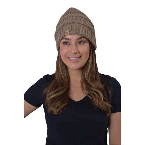 Women's Knitted Beanie, Tan,Beige,Fawn,Khaki, swatch