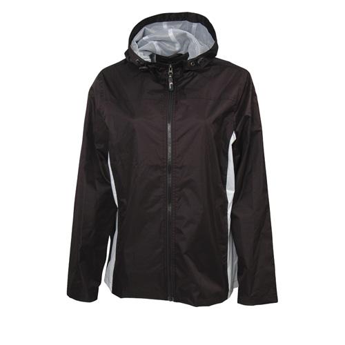 Women's Lightweight Rain Jacket, Black/White, swatch