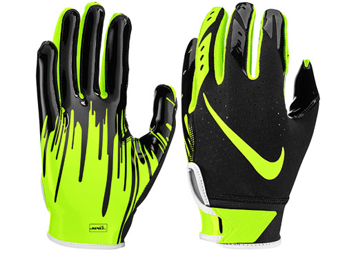 Youth Vapor Jet 5.0 Football Glove, Black/Neon, swatch