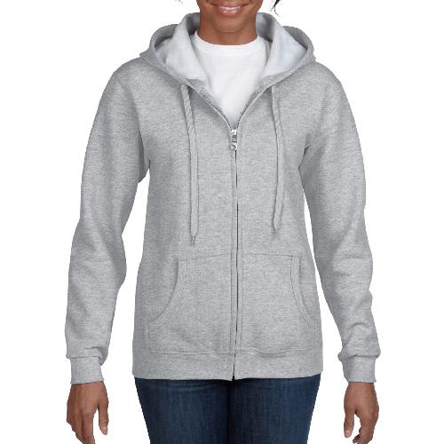Women's Full Zip Hooded Sweatshirt, Gray, swatch