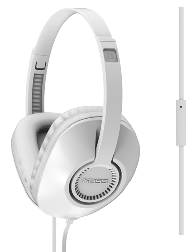 Full Size Over The Ear Headphones With Mic, White, swatch
