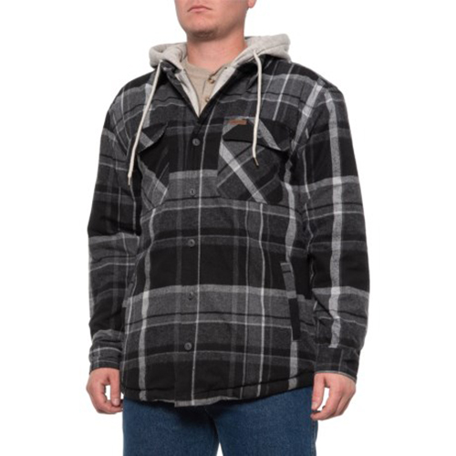 Fleece Lined Flannel Shirt Jacket, Black, swatch