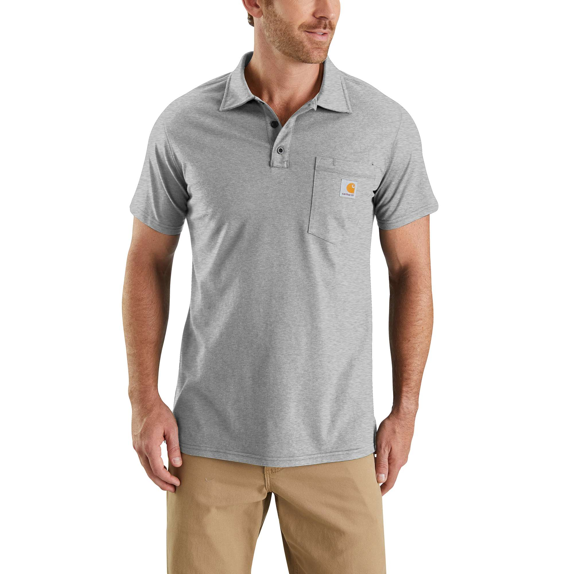 Men's Force Cotton Delmont Pocket Polo, Heather Gray, swatch