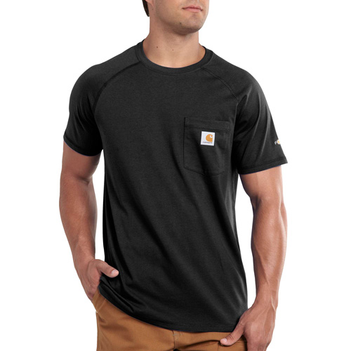 Men's Short Sleeve Force Cotton Delmont Tee, Black, swatch