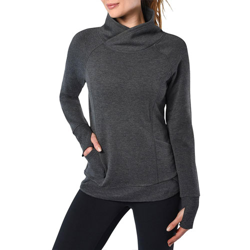 Women's Plus Inside Modal Crew Neck Fleece, Charcoal,Smoke,Steel, swatch