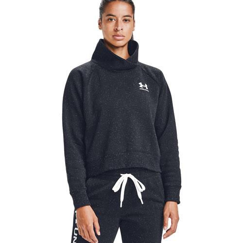 Women's Rival Fleece Wrap Neck Pullover Sweater, Black, swatch