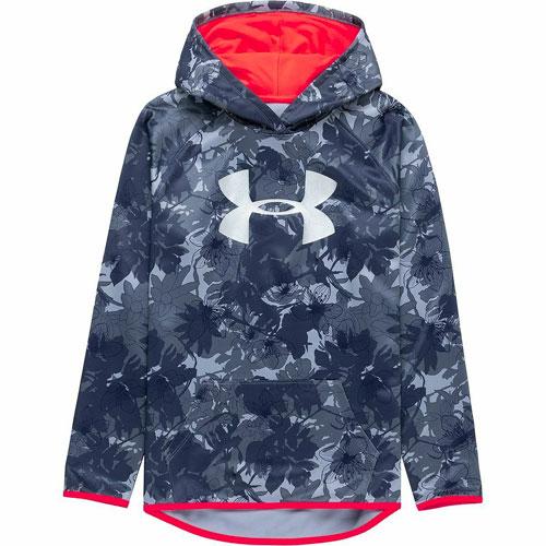 Girls' Armour Fleece Novelty Big Logo Hoodie, Blue, swatch