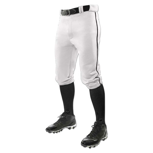 Men's Triple Crown Knicker Baseball Pants, White/Black, swatch