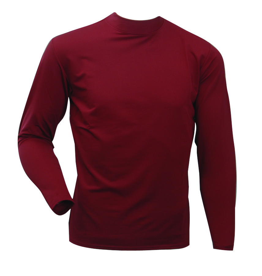 Men's Long Sleeve Cold Weather Mockneck Shirt, Maroon, swatch