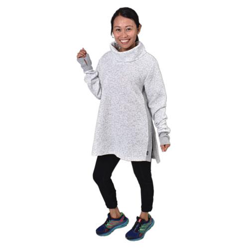 Women's Jacquard Long Sleeve Quilt Cowl Neck Sweatshirt, Heather Gray, swatch