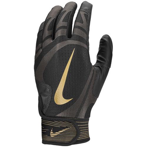 Youth Alpha Huarache Edge Batting Gloves, Black/Gold, swatch