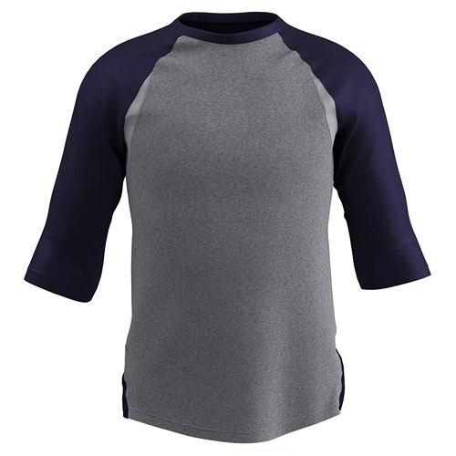 Youth Extra Innings 3/4 Sleeve Shirt, Gray/Navy, swatch