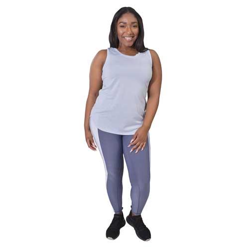 Women's 7/8 Colorblock Legging, Light Purple, swatch