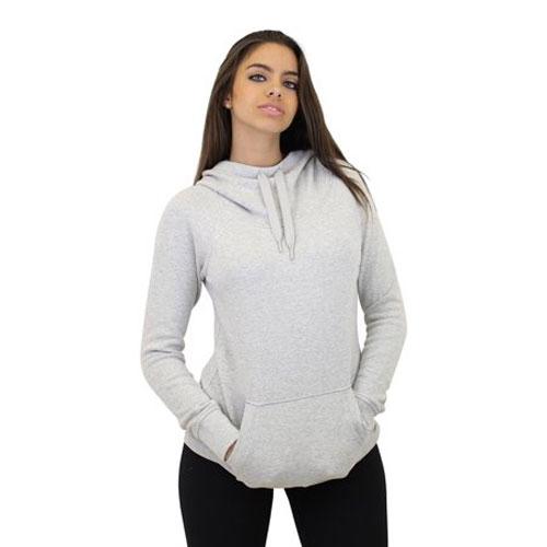 Women's Long Sleeve Pullover Hoodie, Heather Gray, swatch