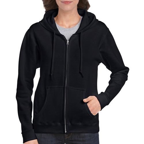Women's Full Zip Hooded Sweatshirt, Black, swatch