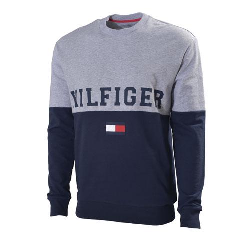Men's Color Block Script Crew Sweatshirt, Navy, swatch