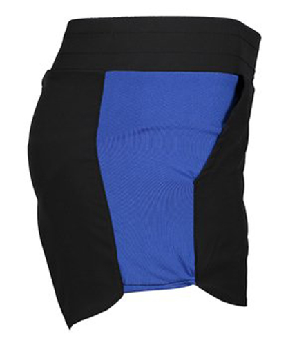 Women's Side Panel High Waisted Bike Shorts, Black/Blue, swatch