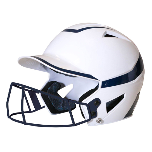 Senior 2-Tone Fast Pitch Helmet with mask, White/Navy, swatch