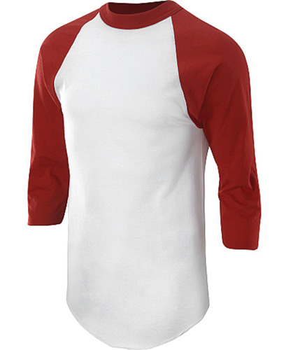 Adult 3/4 Sleeve Baseball Shirt, White/Red, swatch