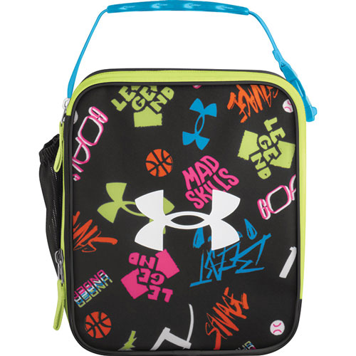 UA Scrimmage Lunch Box, Black/Lime Green, swatch