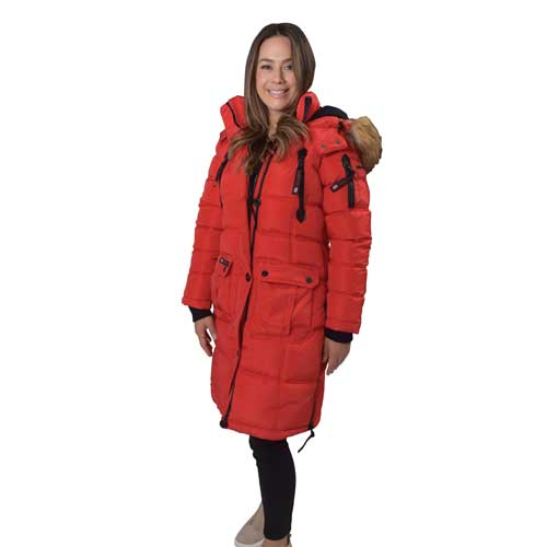 Women's 2-Pocket Puffer Jacket, Red, swatch