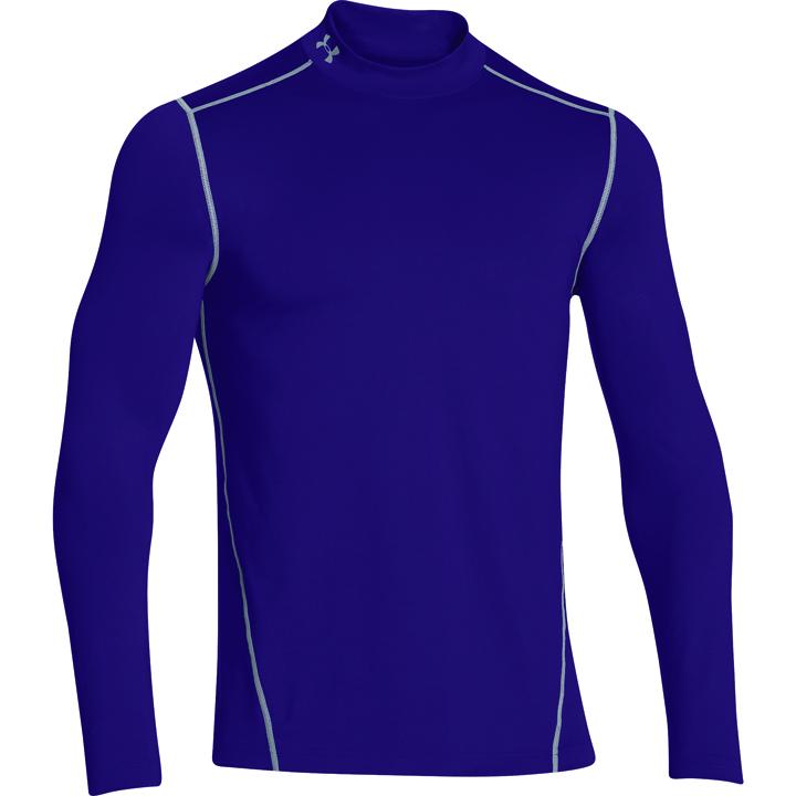 Men's ColdGear EVO Fitted Mock Long Sleeve Shirt, Purple, swatch