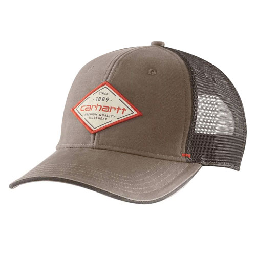 Canvas Mesh-Back Premium Graphic Cap, Lt Brown,Taupe, swatch