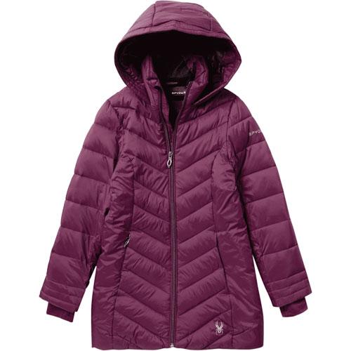 Girls' Long Boundless Ski Jacket, Purple, swatch
