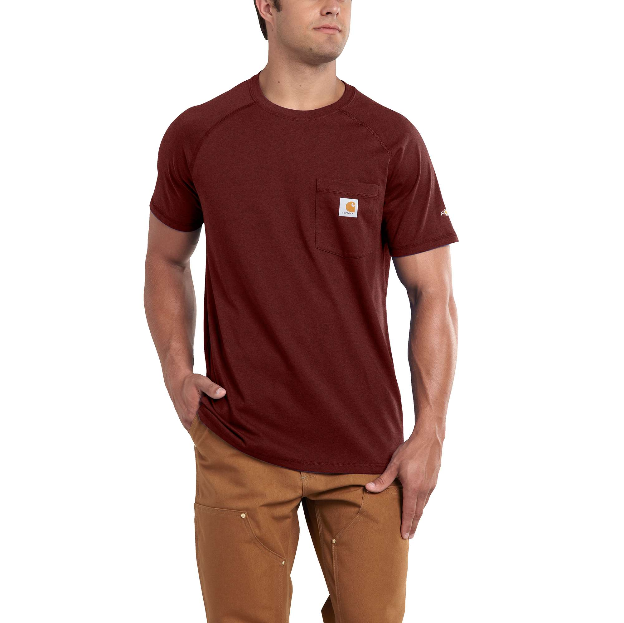 Men's Force Delmont Short Sleeve T-Shirt, Red/Brown, swatch
