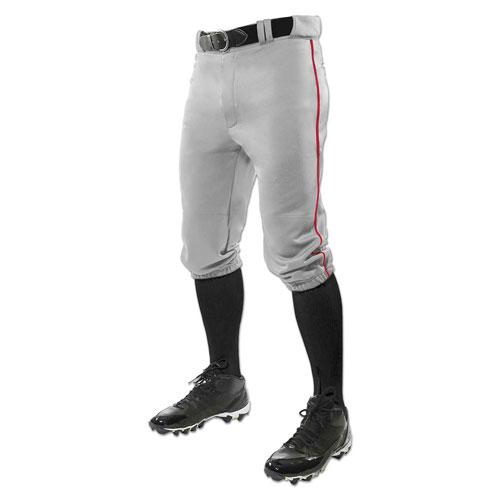 Men's Triple Crown Knicker Baseball Pants, Gray/Red, swatch