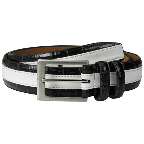 Men's Leather Stripe Textured Belt with Silver Tone Buckle, Black/White, swatch