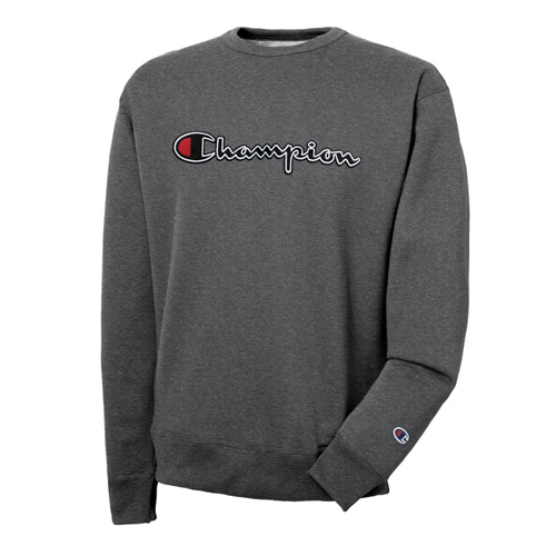 Men's Vertical Strip Powerblend Fleece Crewneck, Charcoal,Smoke,Steel, swatch