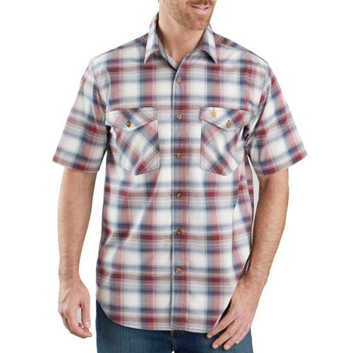 Men's Rugged Flex Relaxed Fit Lightweight Plaid Shirt, Dk Red,Wine,Ruby,Burgandy, swatch