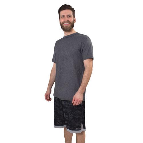 Men's Camo Print Basketball Shorts, Black, swatch