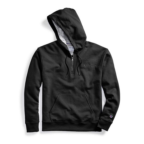 Men's Powerblend Embroidered Logo Fleece Quarter Zip Hoodie, Black, swatch
