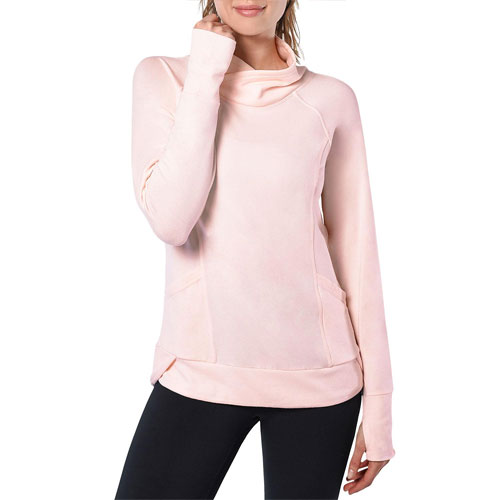 Women's Plus Inside Modal Crew Neck Fleece, Pink, swatch