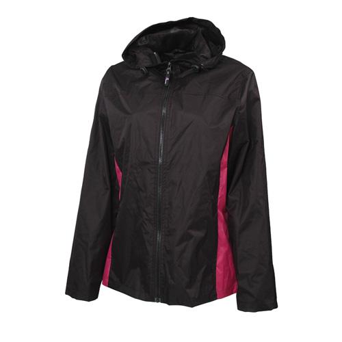 Women's Lightweight Rain Jacket, Black/Pink, swatch