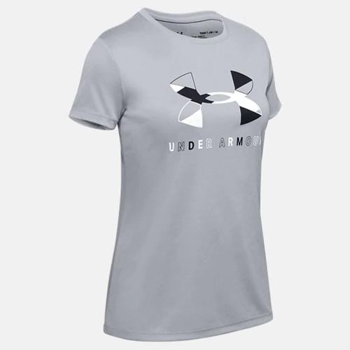 Girls' Tech Big Logo Short Sleeve T-Shirt, Heather Gray, swatch