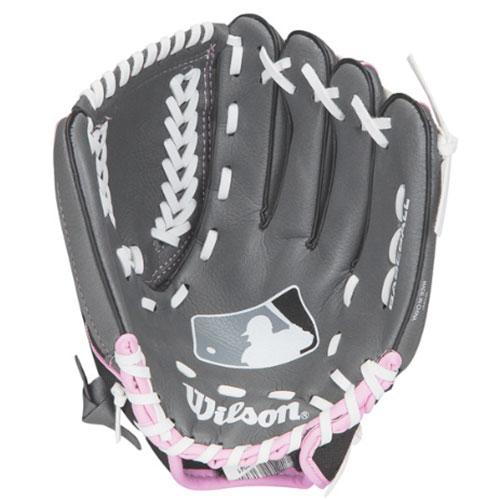 "Youth A150 MLB Series 10.5"" Baseball Glove, Pink/Black, swatch"