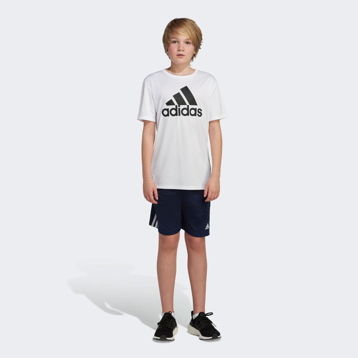 Boys' Short Sleeve AEROREADY Performance Logo Tee, White, swatch