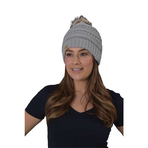 Women's Knit Beanie With Fur Pom, Heather Gray, swatch