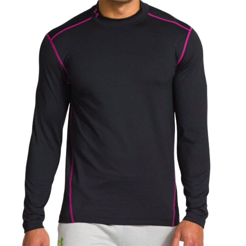 Men's ColdGear EVO Fitted Mock Long Sleeve Shirt, Black/Pink, swatch