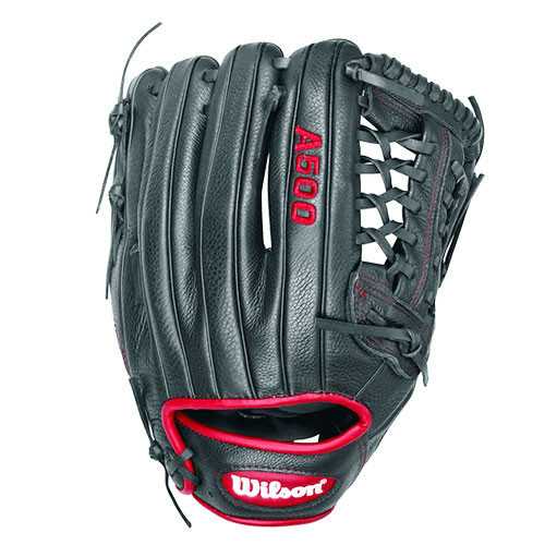 "Adult 12"" A500 Series Glove, Black/Red, swatch"