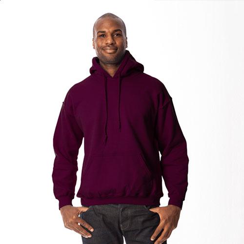 Men's Long Sleeve Fleece Pullover Hoodie, Maroon, swatch